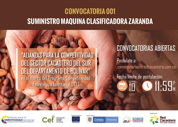 CONVOCATORIA 001 SUMINISTRO MAQUINA CLASIFICADORA ZARANDA.