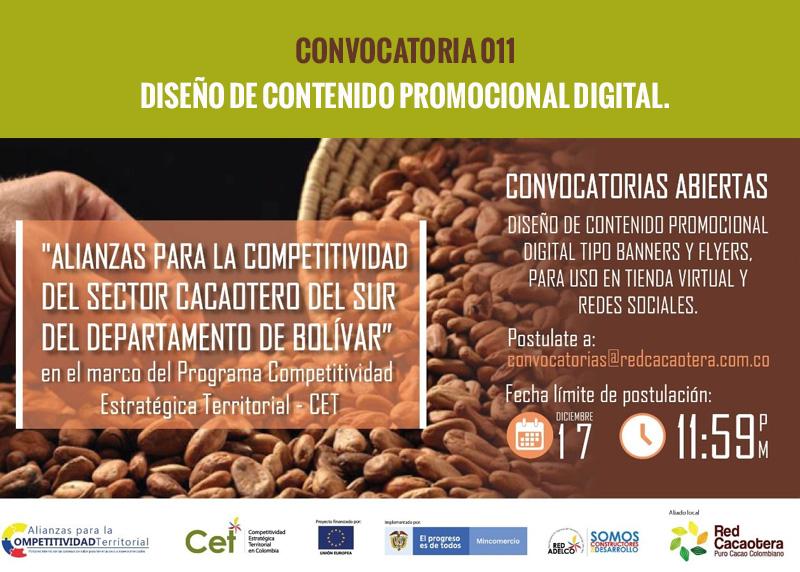 CONVOCATORIA 011 DISEÑO DE CONTENIDO PROMOCIONAL DIGITAL.