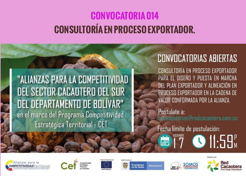 CONVOCATORIA 014 CONSULTORÍA  EN PROCESO EXPORTADOR.