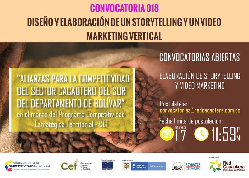CONVOCATORIA 018 DISEÑO Y ELABORACIÓN DE UN STORYTELLING Y UN VIDEO MARKETING VERTICAL
