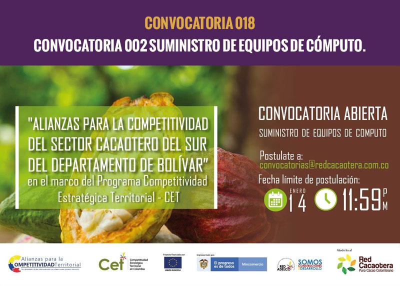 CONVOCATORIA 002 SUMINISTRO DE EQUIPOS DE CÓMPUTO.