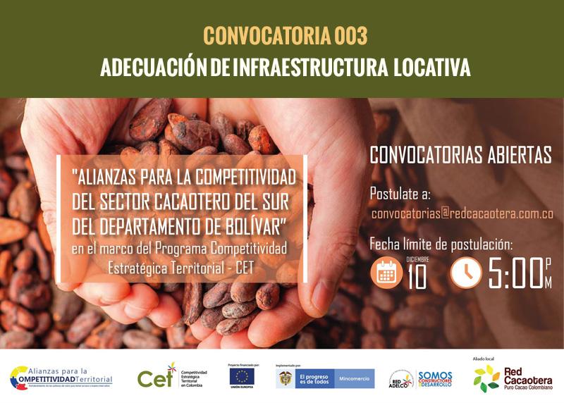 CONVOCATORIA 003 ADECUACIÓN DE INFRAESTRUCTURA  LOCATIVA.