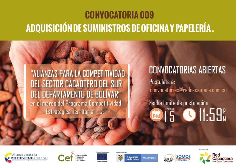 CONVOCATORIA 009 ADQUISICIÓN DE SUMINISTROS DE OFICINA Y PAPELERÍA .