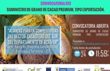 CONVOCATORIA 013 SUMINISTRO DE GRANO DE CACAO PREMIUM, TIPO EXPORTACIÓN.(Cuarta Fecha)