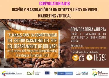 CONVOCATORIA 018 DISEÑO Y ELABORACIÓN DE UN STORYTELLING Y UN VIDEO MARKETING VERTICAL (Tercera Fecha)