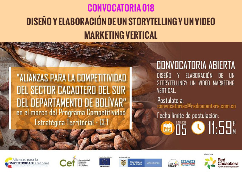 CONVOCATORIA 018 DISEÑO Y ELABORACIÓN DE UN STORYTELLING Y UN VIDEO MARKETING VERTICAL (Tercera Fecha)