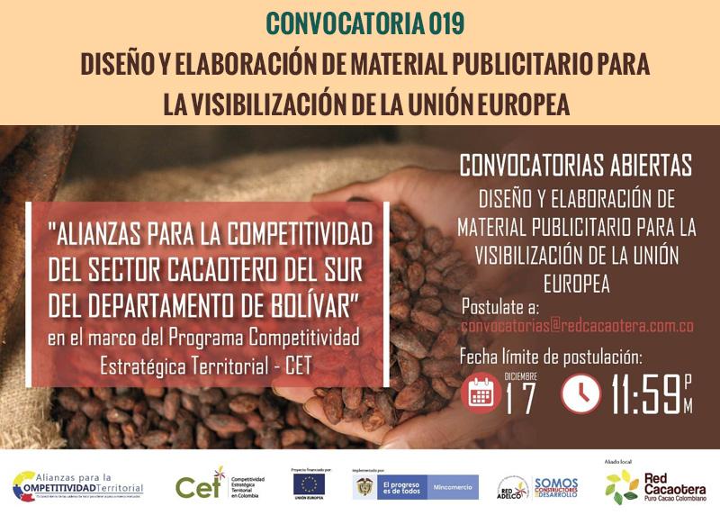 CONVOCATORIA 019 DISEÑO Y ELABORACIÓN DE MATERIAL PUBLICITARIO PARA LA VISIBILIZACIÓN DE LA UNIÓN EUROPEA