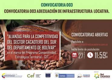 CONVOCATORIA 003 ADECUACIÓN DE INFRAESTRUCTURA LOCATIVA. / Segunda publicación